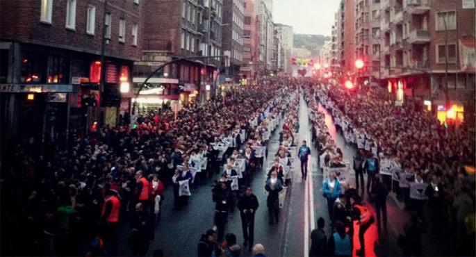 Presoen aldeko manifestazioa nazioarteko hedabidetan