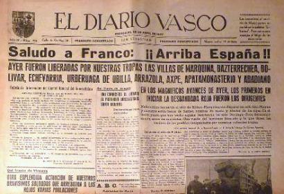 El Diario Vascoren azal frankistak Donostiako paretetan