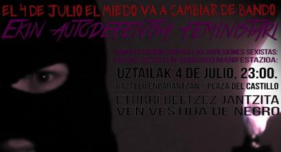 Beltzez jantzitako emakumeen manifestazioa Iru�eko parranda-kaleetan ostiralean