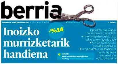'Berria'-rentzat diru-laguntza %14 murriztu du Jaurlaritzak