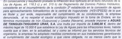 Txingudiko mankomunitateari 3.000 euroko zigorra, Endara errekaren emari ekologikoa ez errespetatzeagatik