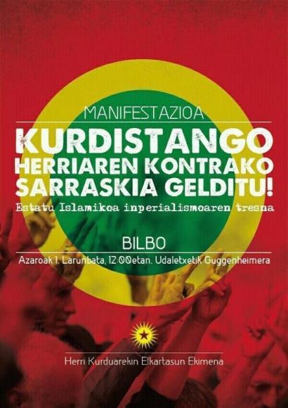 Kobane eskualde kurduaren aldeko munduko martxa deitu dute larunbatean, Bilbon manifestazioa