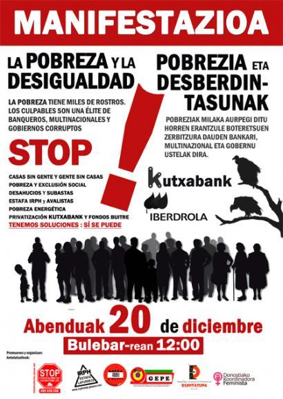 Pobreziari aurre egiteko zortzi neurri: larunbatean manifestazioa Donostian