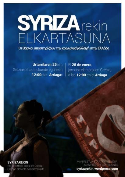 'Syrizarekin' plataformak Bilbotik aldarrikatuko du Greziako aldaketa nahia igandean