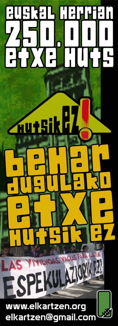 Euskal Herrian dauden 250.000 etxe hutsak markatzen hasiko da Elkartzen