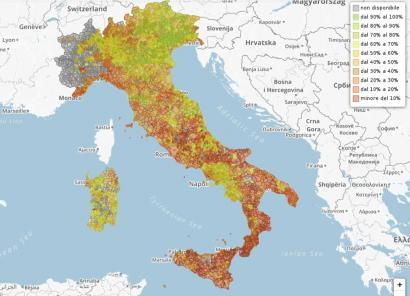 Mapa ikusgarria: hondakinen birziklatzea Italian udalez udal