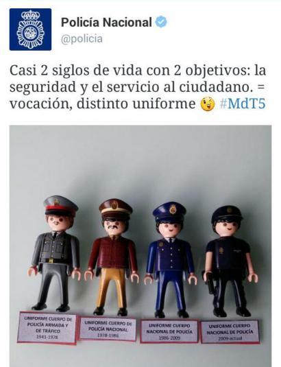 Espainiako Poliziaren Twitter kontuak goraipatu egin du Frankismoan
