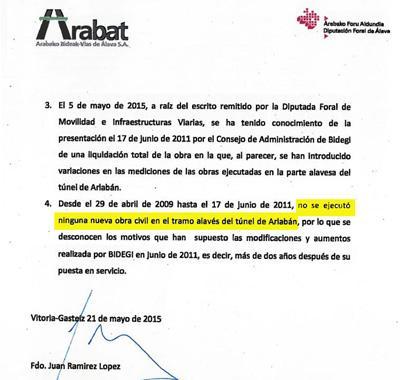 Arabako Aldundiak baieztatu du Bidegik enpresei ordaindutako 10 milioi euro lehendik ere ordainduta zituela