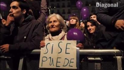 Bideoa: Milaka lagun bildu ditu Madrilen Podemosek