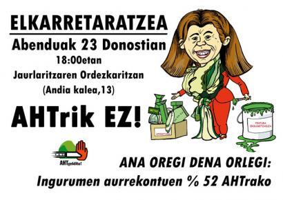EAEko aurrekontuetako 350 milioi euro AHTra bideratzea salatuko dute Donostian