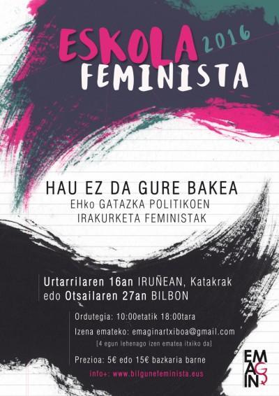 Eskola feminista antolatu du Emaginek, gatazka politikoen irakurketak egiteko