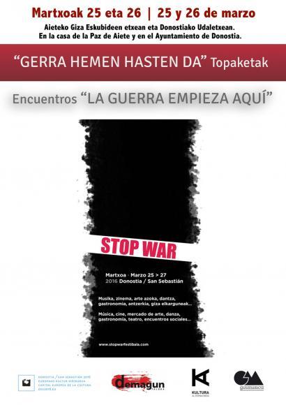 Antimilitarismoaz, gudaz eta bakeaz gogoetatzeko parada 'Stop War' topaketetan
