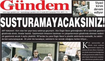 25 kazetari atxilotu eta '�zg�r G�ndem' egunkari kurdua itxi ditu Turkiak