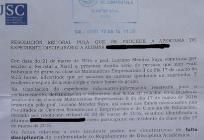 Irakasle matxista salatzeko protesta egin zuten Galiziako ikasleak zigortu ditu unibertsitateak