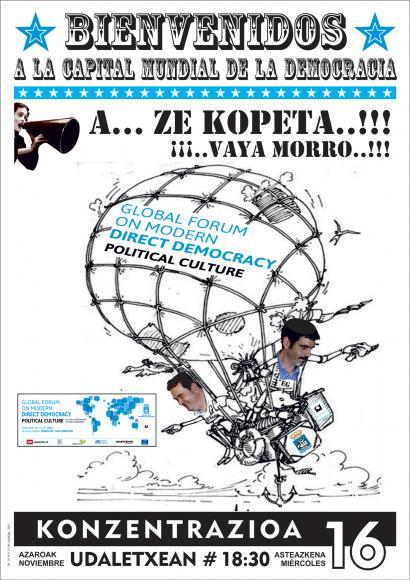 """Donostia """"Demokraziaren Munduko Hiriburu"""" izendatu dutela eta protesta deitu dute hainbat eragilek"""