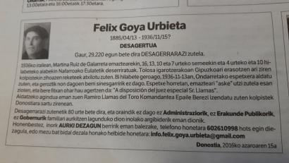 Felix Goia Urbieta bigarrengoz desagerraraziko 80 urte beranduago?