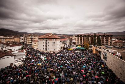 Thousands rally in Basque town Altsasu to demand the freedom of the seven arrested youths