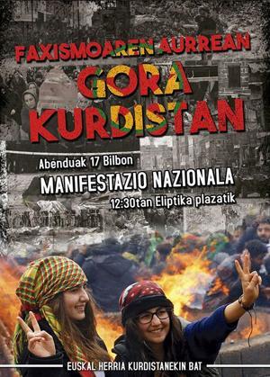 Kurdistango herriari elkartasuna adierazteko manifestazioa egingo dute larunbatean Bilbon