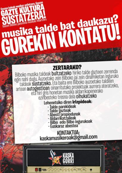 Bilboko eta inguruetako musika talde gazteen zerrenda egiten hasi da Kaskagorri