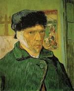 Vincent Van Goghen autorretratuetako bat, belarri zauritua bendatuta duela.