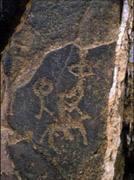 Damaidiko (Txina) malkarretako grabatu honetan giza eta zaldizko irudiak ageri dira.