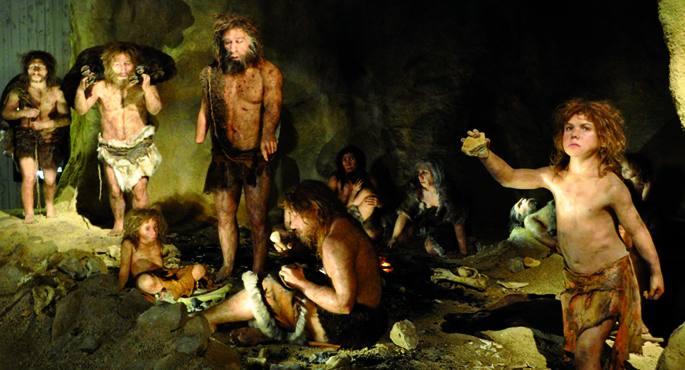 Neanderthaleko gizaki talde baten bizimodua irudikatzen duen eszena. Orain arte eremu akademikoan gizaki horiek haragijaleak zirela eta horrek espeziea desagertzea bultzatu zuela uste izan da. Baina berriki zientzialari talde batek frogatu du uste baino a