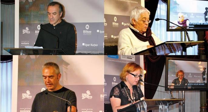 Toti Martinez de Lezeak, Xabier Euzkitzek, Miren Agur Meabek eta Gontzal Mendibilek parte hartu zuten besteak beste, iazko Jon Miranderen Haur besoetakoaren etenik gabeko irakurraldian.