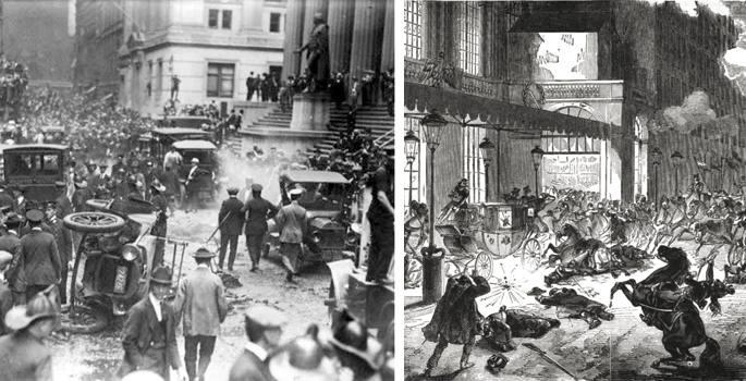 Ezkerrean, 1920an, Wall Streeten, Mario Buda italiarrak egindako atentatua, bonba-auto bidezko lehena. Ezkerrean, Napoleon Bonaparteren kontrako atentatua, 1800ean; autoa asmatu gabe zegoen artean, eta gurdia erabili zuten.