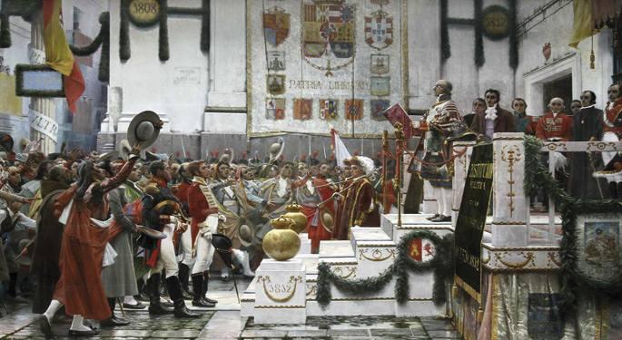 Cadizeko konstituzioaren aldarrikapena. Salvador Viniegraren olio-pintura erabili izan da bigarren mendeurrenerako.