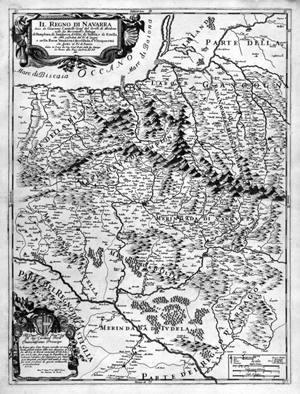 Cantelli geografoaren 1690eko Nafarroako erreinuaren mapa.