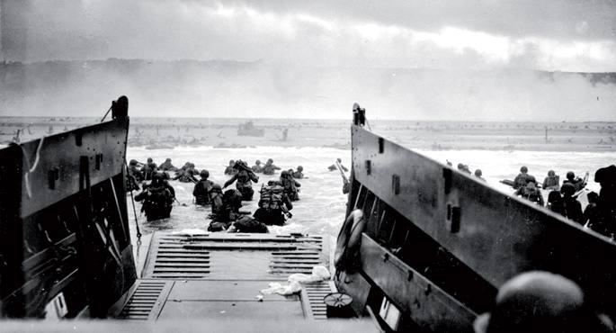 Aliatuak Normandiako hondartzetan lehorreratzen, A.T. Doodsonek ezarritako D egunean eta H orduan.