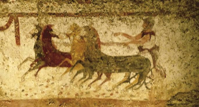 Antzinako Greziako koadriga. K.a. 396. urteko Olinpiar Jokoetan Ziniskak