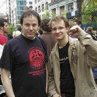 David Graeber kaleko protesta batean New Yorken.