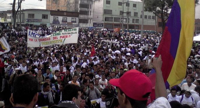 Marcha Patriotica mugimenduaren manifestazioa Bogotan
