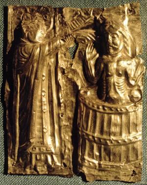 Ezkerrean, Danimarkako Harald erregearen bataioa, 960. urtean.