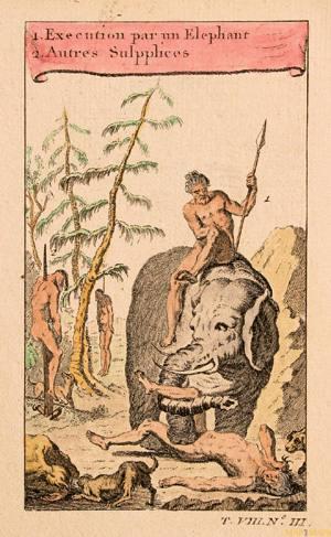 XVIII. mendearen erdialdeko irarlana, elefante bidezko exekuzioa irudikatzen duena.