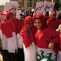 Emakumeen protesta Bagdad hirigunean.
