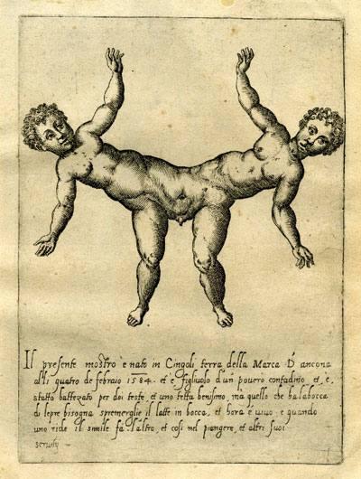 Fortunio Liceti italiarraren De monstris (1665) liburuko ilustrazioa. Garai bertsuan, Licetik