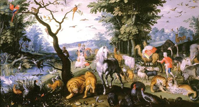 Historia biblikoaren arabera Tubal Jafeten bosgarren semea zen, eta Noeren biloba. Irudian, Jan Brueghel Gaztea-ren margolanean (XVII. mendea), animaliak ontzira sartzen uholde nagusiaren aurretik.