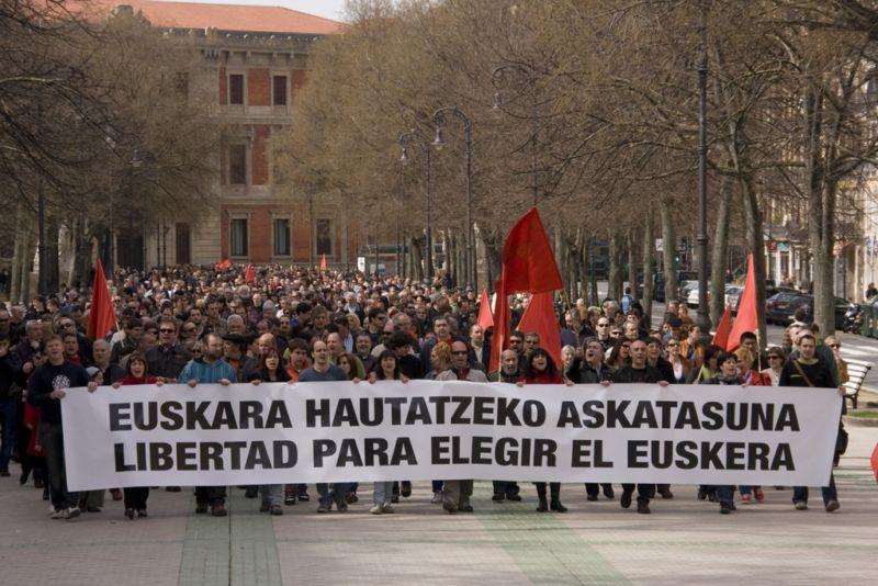 Nafarroa osoan D ereduan ikasteko eskubidearen alde 2010ean Iruñean egin zen manifestazioa
