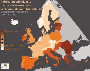 Eurostaten datuak oinarri hartuta Gaindegiak osatu duen mapa, Europan pobrezia edo bazterketan erortzeko arriskuan dagoen biztanleria kopurua adierazteko.