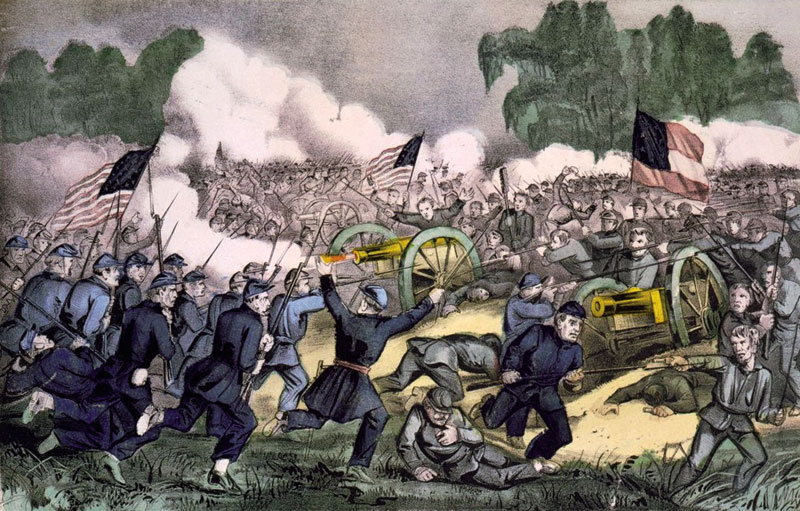 Gettysburgeko gudua, Nathaniel Currier eta James Merritt Ives (c.1863). Abraham Lincolnek Siameko erregearen eskaintza onartu izan balu, AEBetako Gerra Zibilaren ikonografiak elementu exotikoagoak izango zituzkeen.