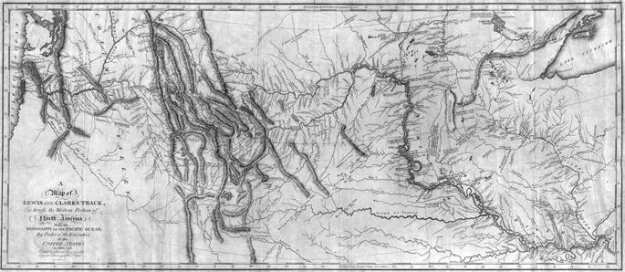 Lewis eta Clarken espedizioaren mapa, 1814an argitaratua. Espedizioari esker, AEBetako ipar-mendebaldea mapetan zehaztasunez jasotzen hasi ziren, eta Columbia eta Missouri ibaien iturburuak topatu zituzten. Berriki espedizioaren mapa askoz zehatzagoa egit