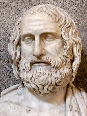 Euripidesen bustoa, K.a. 330. urte inguruko artelan greziar batean oinarritutako kopia erromatarra.