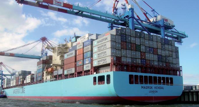 Wikipedian Garitzko delakoak eskegitako argazkian, Maersk konpainiaren Kendal zamaontzia Alemaniako Bremerhaveneko kaian. Rose Georgek bost asteko bidaia egin zuen bertan, itsasoko garraioari buruzko