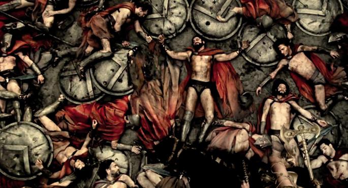 300 espartarren heriotza Termopiletako guduan, 300 (2007) filmaren arabera. Berez, 298 hil ziren guduan, baina beste biek ere ez zuten luzaroan iraun. Espartar erregearen guardiek 29 urte izan zitzaketen gehienez, eta baldintza hura betetzea erraza zen. 3