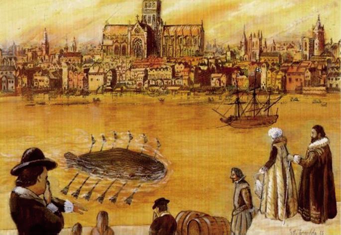 Cornelius Drebbelen itsaspekoa Tamesis ibaian, G.H. Tweedalek margotua. XVII. mendean asmatu zuen Drebbelek itsaspeko ontzia, baina hark abiatutako bideak ez zuen XX. mendera arte jarraipenik izan.