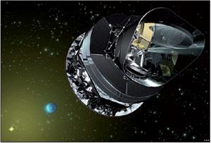 Planck satelitearen marrazkia.