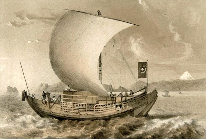 XIX. mende hasierako merkataritza ontzi japoniarra. Otokichi (1818-1867) antzeko ontzi batean iritsi zen nahi gabe Ipar Amerikara.