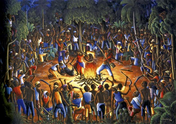 Bois-Caimaneko zeremonia, Andre Normil (1990). Historialariak ez datoz bat 1791ko abuztuko budu zeremonia haren nondik norakoak azaltzean; bada mito hutsa dela esaten duenik ere.